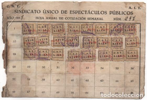 CARNET. C.N.T. 24 CUOTAS + 7 CUOTAS- S.U. DE ESPECTACULOS PUBLICOS, VER FOTOS (Sellos - España - Guerra Civil - De 1.936 a 1.939 - Usados)