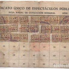 Sellos: CARNET. C.N.T. 24 CUOTAS + 7 CUOTAS- S.U. DE ESPECTACULOS PUBLICOS, VER FOTOS. Lote 195901786