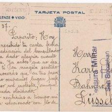 Sellos: HP9-3- GUERRA CIVIL TARJETA POSTAL CARLOS LENZE + VIGO 1937 A ALEMANIA .AUXILIO DE INVIERNO, CENSURA. Lote 222088490