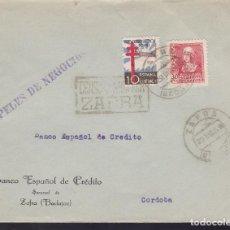 Francobolli: F28-29- GUERRA CIVIL CARTA ZAFRA (BADAJOZ) 1938. CENSURA Y TUBERCULOSOS. Lote 195930290