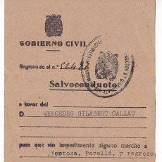Selos: HP9-13- GUERRA CIVIL SALVOCONDUCTO 1941 . COMISARÍA INVESTIGACIÓN Y VIGILANCIA . BARCELONA . Lote 195942116