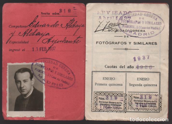 MADRID, CARNET, SOC. OBRERA FOTOGRAFOS Y SIMILARES- CON 8 CUOTAS AÑO 1937, VER FOTOS (Sellos - España - Guerra Civil - De 1.936 a 1.939 - Usados)