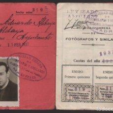Sellos: MADRID, CARNET, SOC. OBRERA FOTOGRAFOS Y SIMILARES- CON 8 CUOTAS AÑO 1937, VER FOTOS. Lote 196114540