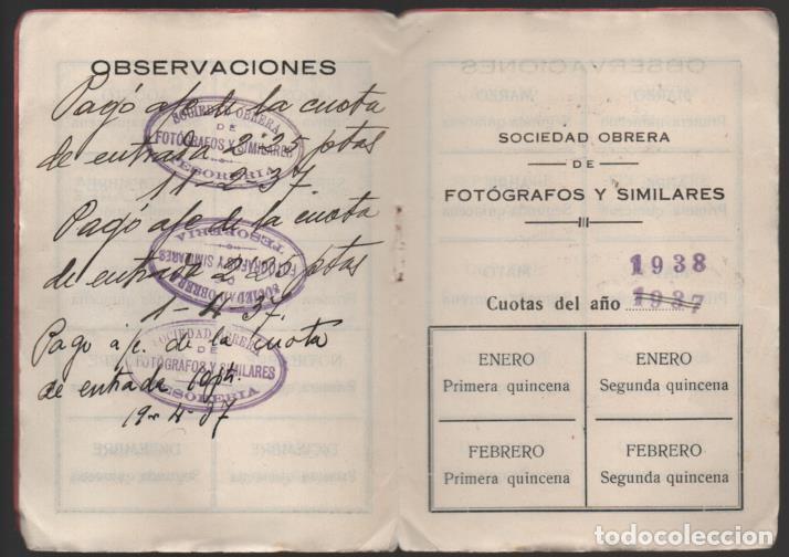 Sellos: MADRID, CARNET, SOC. OBRERA FOTOGRAFOS Y SIMILARES- CON 8 CUOTAS AÑO 1937, VER FOTOS - Foto 3 - 196114540