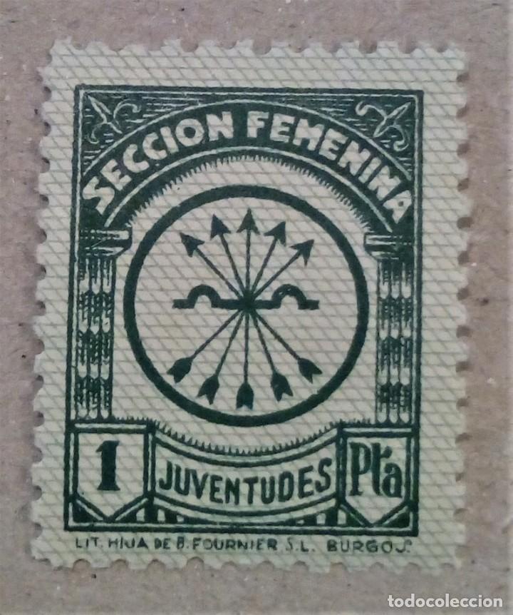 ESPAÑA VIÑETA SECCION FEMENINA JUVENTUDES 1 PTA (Sellos - España - Guerra Civil - Viñetas - Nuevos)