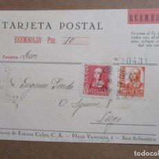 Timbres: CIRCULADA 1938 ESPASA CALPE DE SAN SEBASTIAN GUIPUZCOA A LUGO GALICIA . Lote 197291223