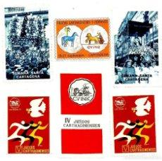 Selos: CARTAGENA. 6 VIÑETAS: JUEGOS CARTAGINENSES, Sª SANTA Y CARTAGINESES Y ROMANOS.. Lote 197302588