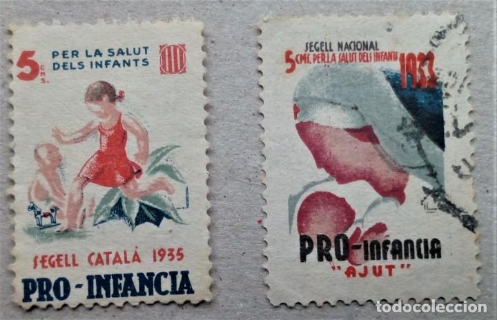 VIÑETA GUERRA CIVIL CATALUÑA PRO INFANCIA INFANTE NIÑO 1935 (Sellos - España - Guerra Civil - De 1.936 a 1.939 - Nuevos)