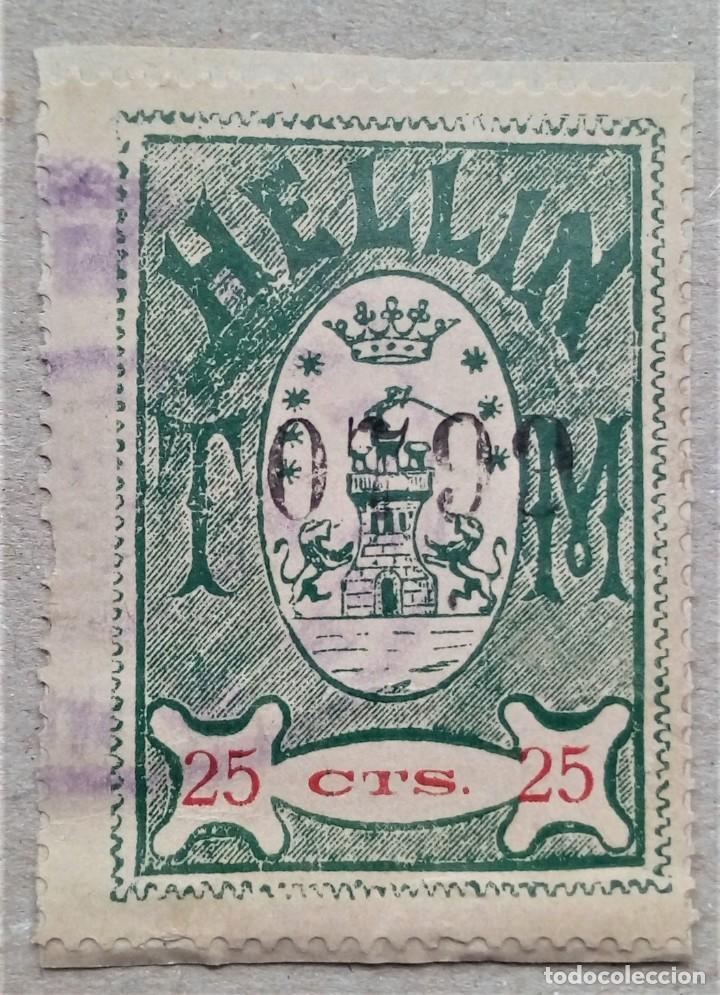 FISCAL HELLIN ALBACETE TASA MUNICIPAL 25 CTS (Sellos - España - Guerra Civil - De 1.936 a 1.939 - Usados)