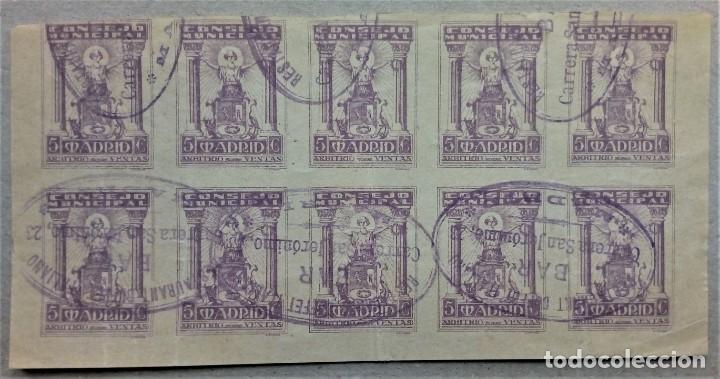 FISCAL CONSEJO MUNICIPAL MADRID ARBITRIO VENTAS BLOQUE 10 BAR (Sellos - España - Guerra Civil - De 1.936 a 1.939 - Usados)