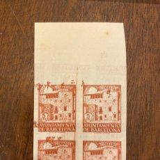 Sellos: AYUNTAMIENTO DE BARCELONA. DOBLE IMPRESION. ANVERSO Y REVERSO. BLOQUE DE 4. NUEVO. CON BANDELETA. Lote 197508277