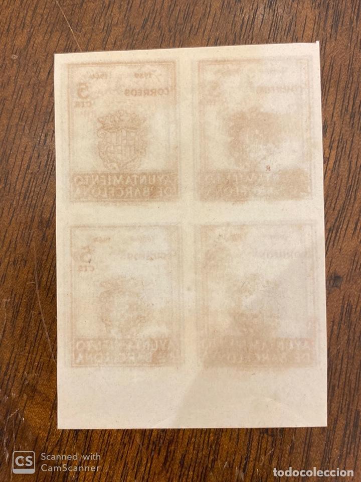 Sellos: AYUNTAMIENTO DE BARCELONA. DOBLE IMPRESION. Nº 98. BLOQUE DE 4. SIN DENTAR. - Foto 2 - 197508336