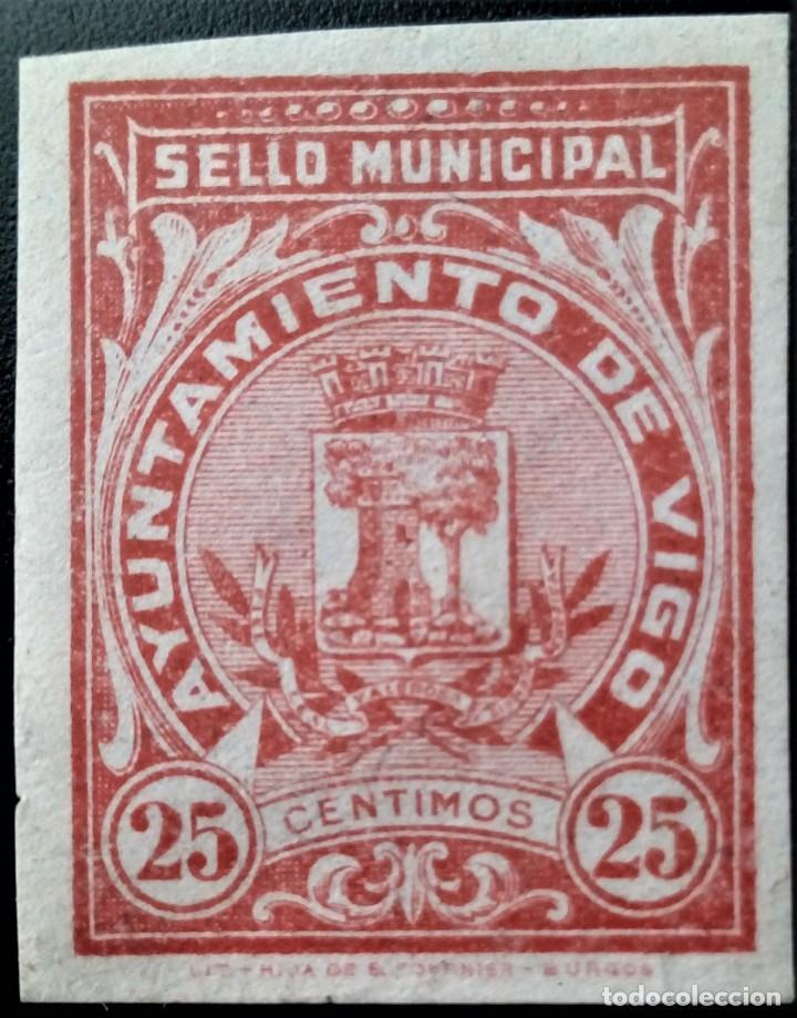FISCAL AYUNTAMIENTO VIGO GALICIA SELLO MUNICIPAL SIN DENTAR 25 CTS (Sellos - España - Guerra Civil - Locales - Nuevos)