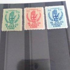 Sellos: 3 SELLOS II ANIVERSARIO DEL ALZAMIENTO NACIONAL * ESPAÑA. Lote 197733875