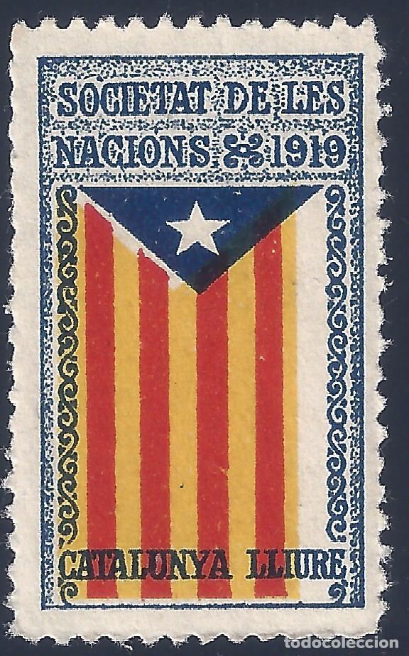 VIÑETA CATALANISTA INDEPENDENTISTA. SOCIETAT DE LES NACIONS 1919. CATALUNYA LLIURE. VARIEDAD. MNH ** (Sellos - España - Guerra Civil - Viñetas - Nuevos)