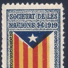 Sellos: VIÑETA CATALANISTA INDEPENDENTISTA. SOCIETAT DE LES NACIONS 1919. CATALUNYA LLIURE. VARIEDAD. MNH **. Lote 197830137