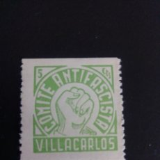 Sellos: GUERRA CIVIL ESPAÑOLA. VIÑETA, COMITÉ ANTIFASCISTA. VILLA CARLOS. MENORCA.. Lote 197907448