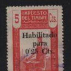 Sellos: MARRUECOS, 5 CTS. --HABILITADO PARA O,25 CTS, VER FOTO. Lote 198058523