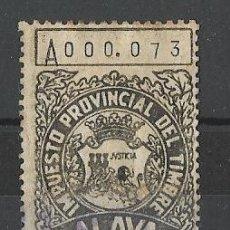 Sellos: SELLO, TIMBRE, FISCAL ALAVA - VITORIA - EUSKADI - P. VASCO. 0,50 PTS. Lote 198115288