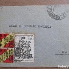 Sellos: FRONTAL CIRCULADA DE GRANADA AL MISMO GRANADA CON SELLO LOCAL Y FISCAL Y CENSURA MILITAR. Lote 198173912