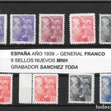 Sellos: ESPAÑA,1939.- LOTE 9 SELLOS GENERAL FRANCO, GRABADOR SÁNCHEZ TODA.NUEVOS SIN FIJASELLOS,. Lote 198250267