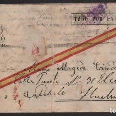 Sellos: CARTA - SEVILLA- PARQUE DE ARTILLERIA A HUELVA, AÑO 1938, VER FOTOS. Lote 198480071