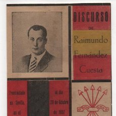 Sellos: T.POSTAL,. DISCURSO RAIMUNDO FERNANDEZ CUESTA. REVERSO: VIÑETA PATRIOTICA, VER FOTOS. Lote 198480322