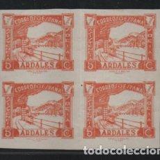 Sellos: ARDALES- MALAGA- 5 CTS,BLOQUE DE 4 SIN DENTAR -ASISTENCIA SOCIAL- VER FOTO. Lote 198573100