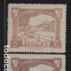 Sellos: ARDALES- MALAGA- 5 CTS, DOS TONOS DE CASTAÑO-ASISTENCIA SOCIAL- VER FOTO. Lote 198573318