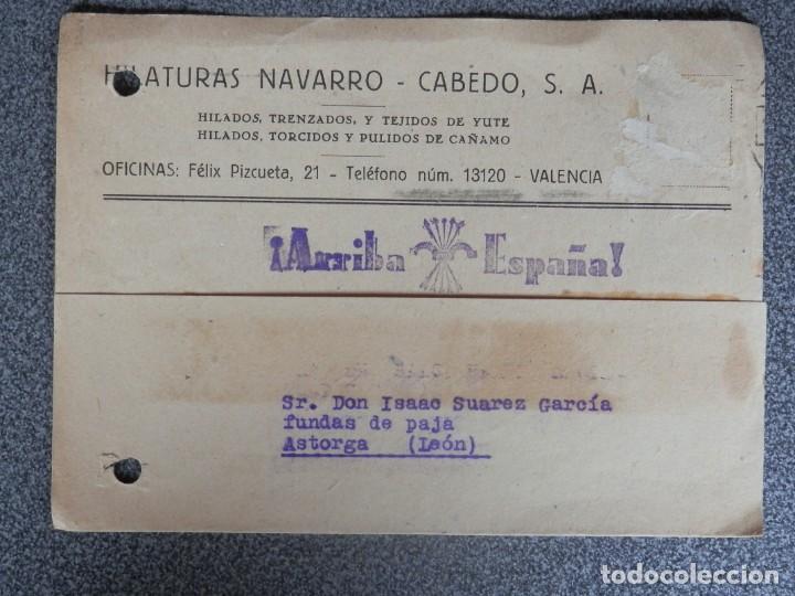 VALENCIA TARJETA PUBLICITARIA Y FICHA AZUL CON ESTAMPILLADO PATRIÓTICO HILATURAS NAVARRO CABEDO (Sellos - España - Guerra Civil - De 1.936 a 1.939 - Cartas)