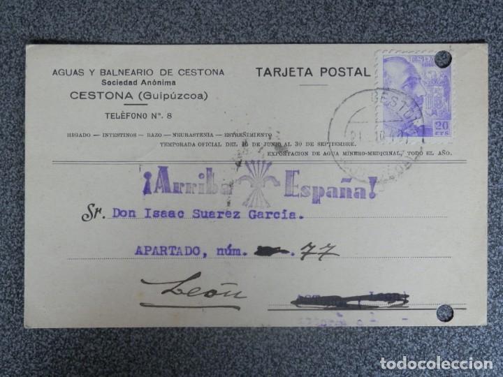 CESTONA GUIPUZCOA TARJETA PUBLICITARIA CON ESTAMPILLADO PATRIÓTICO BALNEARIO CESTONA (Sellos - España - Guerra Civil - De 1.936 a 1.939 - Cartas)