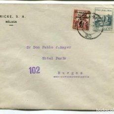 Sellos: 1937 GUERRA CIVIL. CARTA MÁLAGA A BURGOS. CENSURA. FRANQUEO ISABEL SOBRECARGADA Y VIÑETA PRO-MÁLAGA . Lote 199042587