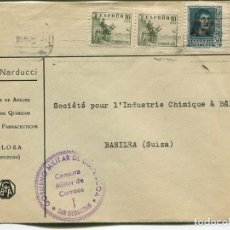 Sellos: 1938 GUERRA CIVIL CARTA TOLOSA A SUIZA. CENSURA SAN SEBASTIÁN. CORREO AÉREO. FERNANDO Y CID. Lote 199044248