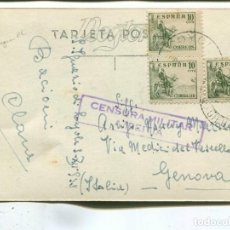 Sellos: 1939CA TARJETA POSTAL GUERRA CIVIL AZPEITIA (GUIPUZCOA) A ITALIA. CENSURA. Lote 199053526