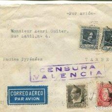Sellos: 1937 CARTA GUERRA CIVIL VALENCIA A FRANCIA. CENSURA. Lote 199056705