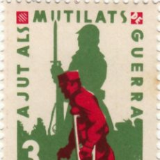 Sellos: ESPAÑA GUERRA CIVIL WAR GENERALITAT CATALUNYA CATALUÑA AJUT ALS MUTILATS DE GUERRA **. Lote 199059356