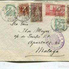 Sellos: 1938 CARTA GUERRA CIVIL BURGOS A MÁLAGA. CENSURA. Lote 199085981