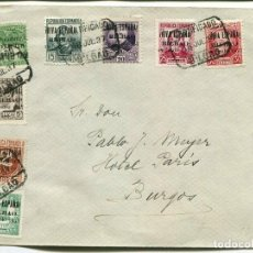 Francobolli: 1937 CARTA TARJETA POSTAL GUERRA CIVIL. BILBAO A BURGOS. SOBRECARGA PATRIÓTICOS. Lote 199086156