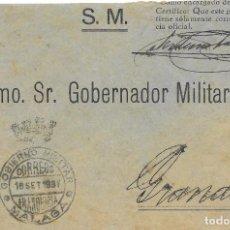 Sellos: GUERRA CIVIL. DEL GOBERNADOR MILITAR DE MALAGA AL DE GRANADA. 1938. Lote 199197767