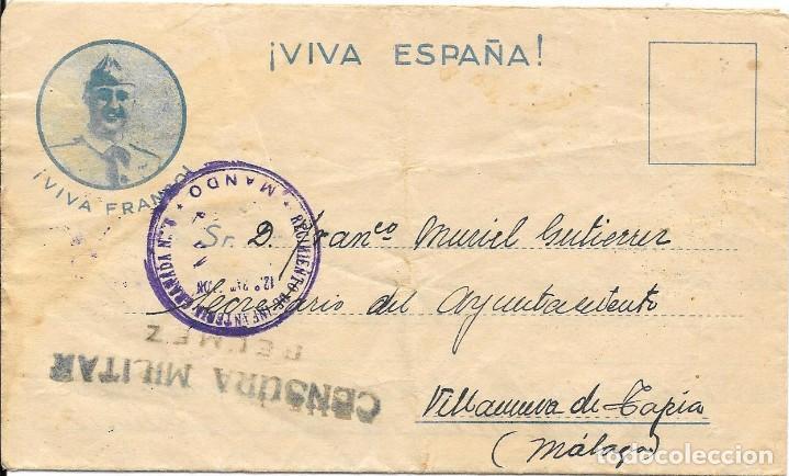 GUERRA CIVIL. REGIMIENTO GRANADA Nº 6. DE BELMEZ - CORDOBA A VILLANUEVA DE TAPIA - MALAGA. 1937 (Sellos - España - Guerra Civil - De 1.936 a 1.939 - Cartas)