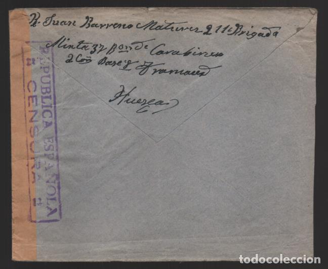 Sellos: HUESCA BATALLON DE CARABINERO- A GIBRALTAR- AL GOBERNADOR CENSURA REPUBLICA ESPAÑOLA--- VER FOTOS - Foto 2 - 199453448
