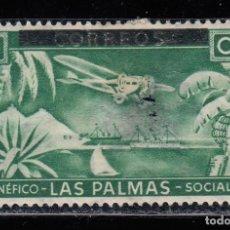 Francobolli: LAS PALMAS BENEFICO SOCIAL. 5 CTS NUEVO SIN GOMA, ROTURA (220). Lote 199966766