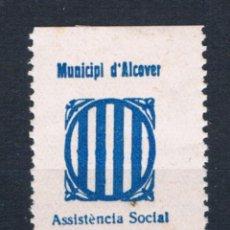 Sellos: GUERRA CIVIL SELLO LOCAL MUNICIPI D´ALCOVER ASSISTENCIA SOCIAL. 5 CENTIMS * LOT006 CHARNELA. Lote 200538797