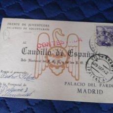 Sellos: POSTAL PINTADA FRENTE DE JUVENTUDES. VILLARRAMIEL. PALENCIA.PALACIO DEL PARDO. MADRID.. Lote 201621533