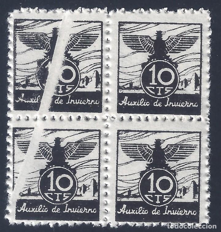 VIÑETA AUXILIO DE INVIERNO 1936 GÁLVEZ Nº 5 (BLOQUE DE 4) (VARIEDAD... FUELLE). MNH ** (Sellos - España - Guerra Civil - Viñetas - Nuevos)