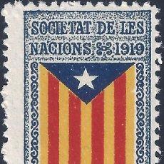 Sellos: VIÑETA CATALANISTA INDEPENDENTISTA. SOCIETAT DE LES NACIONS 1919. CATALUNYA LLIURE. LUJO. MNH **. Lote 201832222