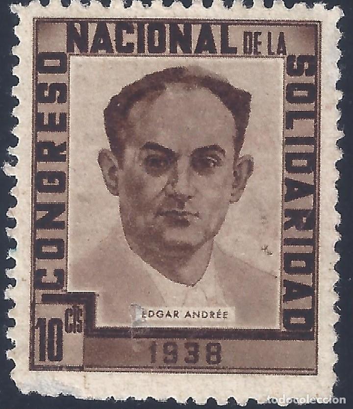 CONGRESO NACIONAL DE LA SOLIDARIDAD 1938. EDGAR ANDRÉE. MNG. (Sellos - España - Guerra Civil - Viñetas - Nuevos)