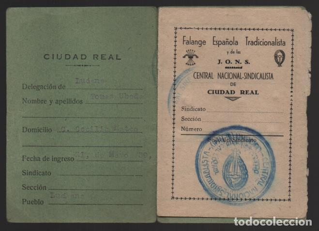 CIUDAD REAL - LUCIANA- CARNET- C. N. S. - 2 CUOTAS 1,50 PTAS- CASTAÑO- VER FOTOS (Sellos - España - Guerra Civil - De 1.936 a 1.939 - Usados)