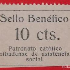 Sellos: SELLO BENEFICO PATRONATO CATOLICO RIBADENSE DE ASISTENCIA SOCIAL 10 CTS, RIBADEO, LUGO. Lote 201950027