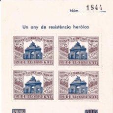 Francobolli: PI DE LLOBREGAT. HOJITA. UN ANY DE RESISTENCIA HERÓICA. MADRID 1936-1937. MNH **. Lote 202282707